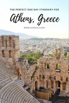 If you don't have a lot of time in Athens, don't worry! This one day Itinerary we'll help you see the main sites and maybe a few you didn't even know . , Athens, Greece in One Day, Us Travel Destinations, Europe Travel Guide, Places To Travel, Travel Deals, Travel Hacks, Travel Advice, Budget Travel, Time Travel, Travel Guides