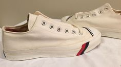 dbfc5672a2fd67 Vintage Pro Keds Canvas Sneakers New Old Stock White Funky Cool Retro Kicks
