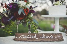 Adorable rustic dessert table // photographer: Sarah Kathleen / Floral Designer: Brianne Arrastia / Styling: {ever after} artistry  // see more: http://theeverylastdetail.com/2013/09/10/little-red-riding-hood-wedding-inspiration/