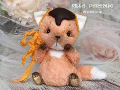ooak volpe art toy teddy  giocatolo artistico da di villaParadisoC