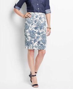 Tall Lucille Floral Pencil Skirt