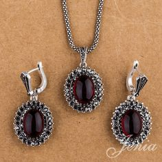 Jenia Vintage Silver Color Jewelry Sets Marcasite Red Garnet Drop Earrings and Pendant Necklace Set XS150 #Affiliate