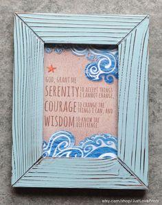 the serenity prayer 4x6 framed print light blue frame christian art aa inspiration serenity prayer set you free and lights