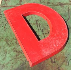 """Theater Marquee Letter 'D': 16"""" Tall: Vintage  Cast Aluminum: Painted Red: Adler"""