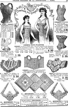 An Edwardian era French catalogue page showing a selection of corsets and other lovely wardrobe items.