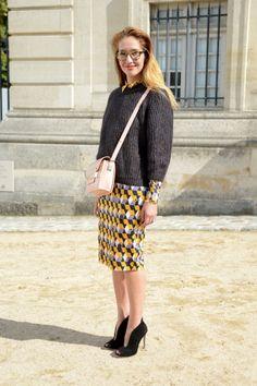 Knitted sweater and printed pencil skirt! Tiany Kiriloff; Bild: Kirstin Sinclair/FilmMagic