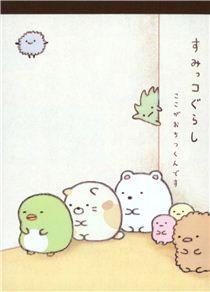 beige Sumikkogurashi animals in corner Note Pad - US$4.41