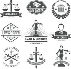 Law order and crime preventing lady justice symbols collection black graphic labels pictograms set isolated vector illustration, vector
