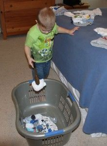 Instant laundry fun - give your preschooler kitchen tongs for picking up socks, etc!