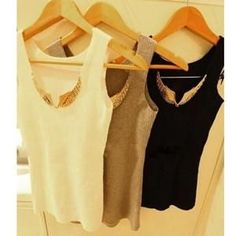 Spring Summer Women Tank Tops Sexy Sequined Metal Wings Sleeveless Camis Casual Pullovers Women Clothing #pulloverwomen