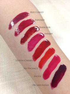 Tom Ford Patent Finish Lip Colour swatches