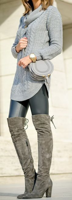 caa387506ab 113 Best grey over the knee boots outfits images in 2019