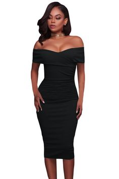 Black Ruched Off The Shoulder Bodycon Formal Midi Dress MB61507-2 – ModeShe.com