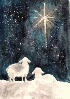 Xmas sheep and star - Malerei - Watercolor Christmas Cards, Watercolor Cards, Watercolor Paintings, Painted Christmas Cards, Sheep Paintings, Watercolors, Christmas Nativity, Christmas Star, Christmas Crafts