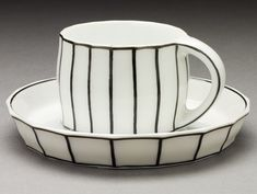 Black and White Mocha Cup and Saucer by Josef Hoffman, c. 1910, Austria, Vienna, Designed c. 1910; made c.1920; Ellen Palevsky Cup Collection, LACMA