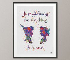 Peter Pan and Wendy Quote Art Watercolor Painting by CocoMilla