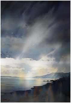 """""""where the mountains sweep down to the sea"""" mourne - northern ireland thomas w schaller watercolor on saunders waterford - 140lb. rough. 24x18 28 aug 2014"""