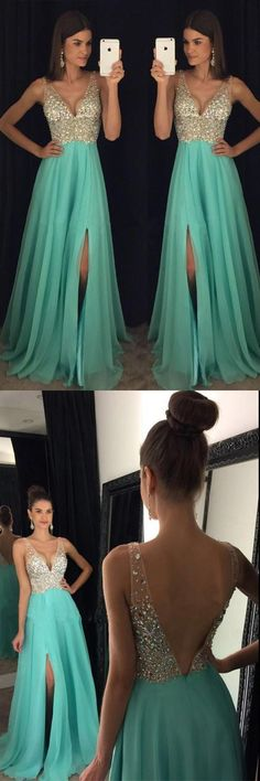 V-neck A-line Long Prom Dress with Beading, Fashion Winter Dance Dress,Formal Dress Prom Dresses For Teens, Grad Dresses, Trendy Dresses, Dance Dresses, Homecoming Dresses, Cute Dresses, Dress Outfits, Evening Dresses, Casual Dresses