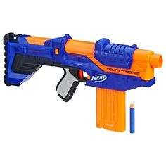 Customize this blaster to defeat the competition! The Nerf N-Strike Elite Delta Trooper comes with an attachable stock and barrel extension to modify it for battle-ready action Armas Wallpaper, Ryan Toys, Cool Nerf Guns, Nerf Darts, Nerf Toys, Kids Toys For Boys, Airsoft Guns, Weapons Guns, Legos