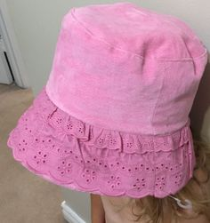 Child Girl Roots Brand Eyelet Tilley Hat with Chin Strap Pink New L/XL 2-4 Yrs…