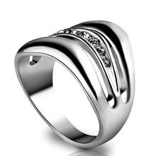 Fashion Multilayer Big Wide Signet Rings Silver Stainless Steel Ringen Created Diamond Fine Jewelry For Women Bague Femme