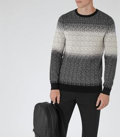 Mens Black Contrast Weave Jumper - Reiss Baxter