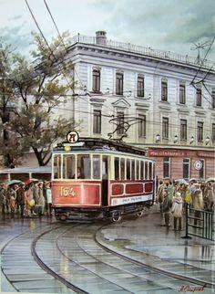 """Купить """"Старенький трамвай"""" - комбинированный, трамвай, москва, люди, дождь, архитектура, дом, деревня, акварель"""