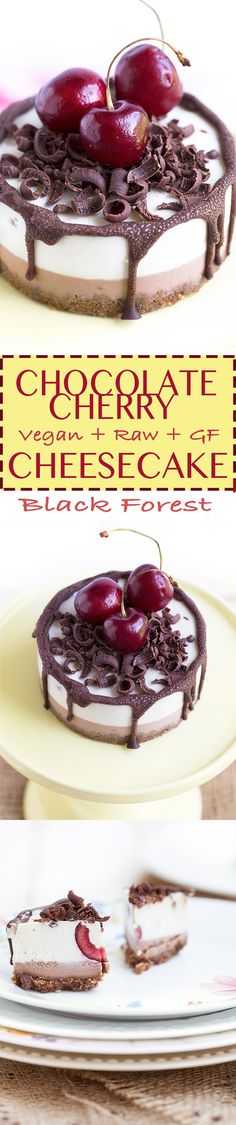 AMAZING Vegan CHOCOLATE CHERRY CHEESECAKE // Black Forest Cheesecake // #glutenfree RAW and Creamy // delicious & guilt-free | Cheesecake CIOCCOLATO & CILIEGIE #vegan #senzaglutine #blackforest