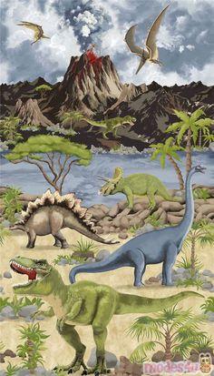 Dinosaur Panel Fabric By Timeless Treasures Dinosaurierbilder Bilder Dinosaurier