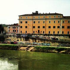 Street art along the Tiber river in Rome