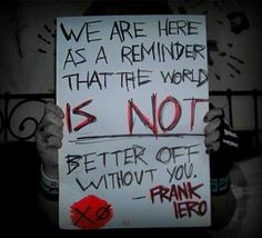 Frank Iero. I love how rock musicians are always fighting for our cause. That's why I love the genre.<<<<