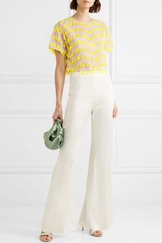 Carolina Herrera yellow Cropped embroidered organza top and white wide leg pants White Wide Leg Pants, Yellow Top, Carolina Herrera, Work Wear, Jumpsuit, How To Wear, Summer Chic, Spring Summer, Outfits