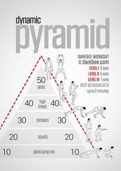 Get ready to sweat! Dynamic pyramid workout for all fitness levels – no equipment required. Get ready to sweat! Dynamic pyramid workout for all fitness levels – no equipment required. Fitness Workouts, Gym Workout Tips, Sport Fitness, Body Fitness, Workout Challenge, Mens Fitness, At Home Workouts, Exercise Cardio, Agility Workouts