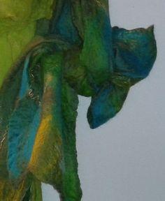moss cobweb felted scarf