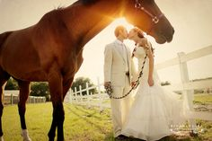 Bride and groom kissing with horse - neat perspective!