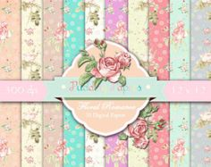 Shabby Chic Digital Paper Roses paper Digital Papers by rosaliks