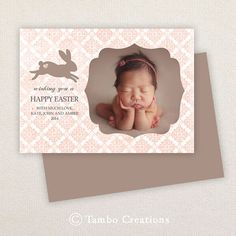 Easter Card Template - Vintage Bunny Rabbit