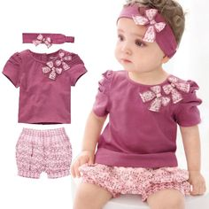 2017 Mùa Hè Nóng Quần Áo Trẻ Em Cotton Sơ Sinh Baby Girl Quần Áo Phù Hợp Với (Áo + Hairband + Quần) 3 cái/bộ bé Quần Áo Set Ropa Bebe
