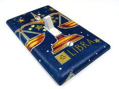 Libra Zodiac Sign Light Switch Cover Navy Blue by ModernSwitch, $6.00