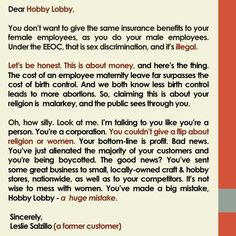 A former customers Short F*ck You Note & Meme To Hobby Lobby~pinned to pinterest by another FORMER customer.  Repin if you are among those who no longer give your business to Hobby Lobby.