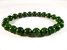 Chrome Diopside Stretch Bracelet 8mm Smooth Round Tumbled Bright Green Bead Gemstones by SandiLaneFineArt on Etsy