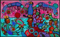 Artiste et chaman entre deux mondes, 1980 Norval (dit Oiseau-Tonnerre de cuivre) Morrisseau  Canada, 1932 - 2007  acrylique sur toile 175 x 282 cm Acheté en 2006 Musée des beaux-arts du Canada (nº 41869)  Copyright Norval Morrisseau / Gabe Vadas. Avec l?autorisation de Kinsman Robinson Galleries, Toronto.