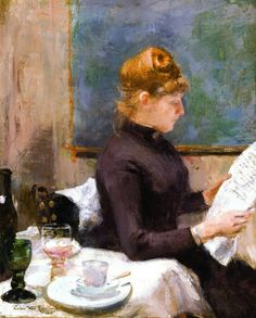 Lady Reading (1885).Théo (Théophile) van Rysselberghe (Belgian, 1862-1926).Oil on canvas.Influenced by the impressionists Monet and Auguste Renoir at the show of Les XX in 1886, van Rysselberghe experimented with this technique, as can be seen in much of his work in 1886 and 1887. Because of his growing ties with the Parisian art scene, Oscar Maus sent Theo as a talent scout to Paris to look out for new talent for the next exhibitions of Les XX.
