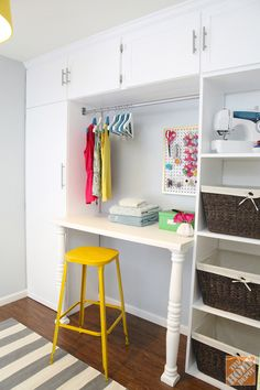 DIY Laundry Room Storage Unit - turn a blank wall/under-utilized space into a wall full of storage for laundry essentials, hiding household cleaning tools, and sewing tools
