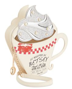 Betsey Johnson brews up luxe fashion for weekend adventures with this playful coffee cup crossbody finished with darling details like a spoon-shaped zipper pull and shimmery glitter. Unique Handbags, Unique Purses, Unique Bags, Purses And Handbags, Popular Handbags, Cheap Purses, Cheap Handbags, Hobo Handbags, Leather Handbags