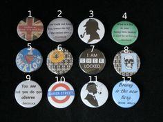 BBC Sherlock Customize your own 4 button set. $5.00, via Etsy.