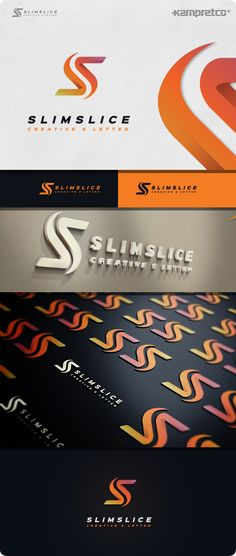 Slim Slice Logo: Letter Logo Design Template by KampretCo. Logo Design Template, Logo Templates, Three Letter Logos, Logo Psd, 3d Logo, Portfolio Logo, Free Business Cards, Unique Logo, Best Logo Design
