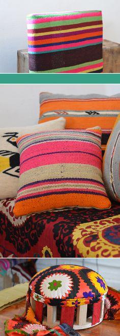 Barrington Blue Turkish Kilim Pillow and Suzani Footstool