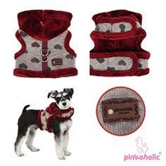 4 views of Gallant Pinka Burgundy/Gray Hearts Furry Sweater Hoodie Harness Vest/Jacket