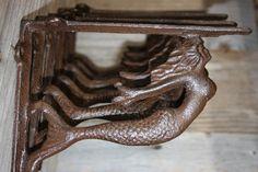 Mermaid Kitchen Open Shelving Shelf Brackets Solid Cast Iron, 7 3/4 inch, Volume Priced B-49B by WePeddleMetal on Etsy